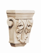 01901009HM1 Petite Acanthus Hand Carved Corbel Hard Maple