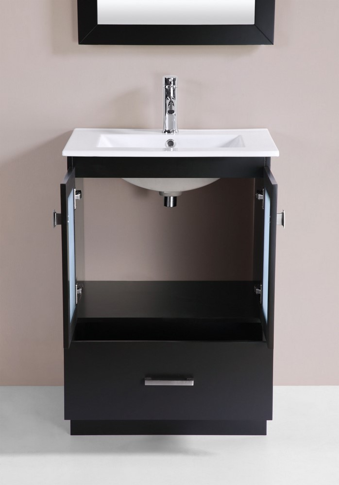 24 hermosa espresso single modern bathroom vanity with for How much to install a bathroom vanity and sink