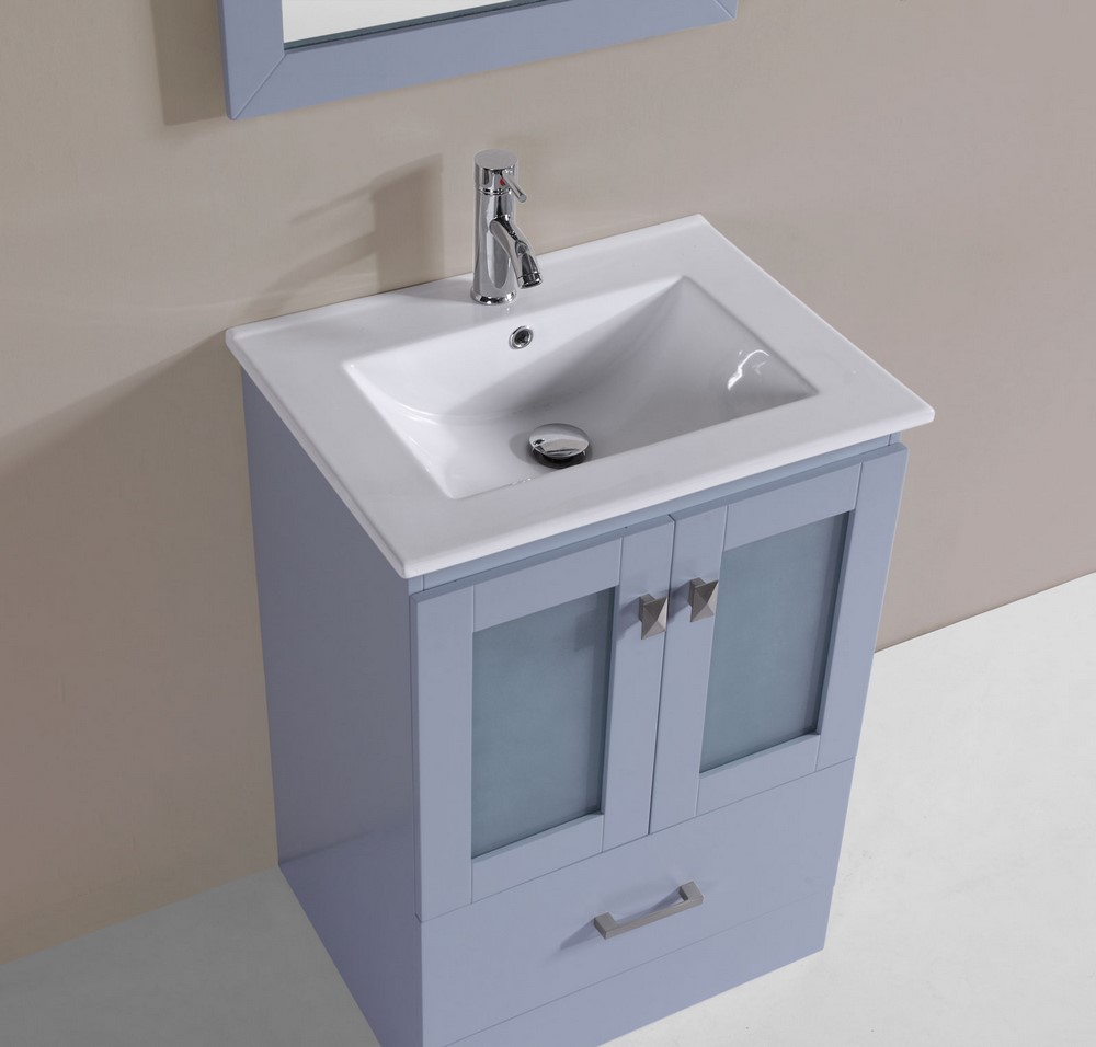 24 hermosa gray single modern bathroom vanity with for How much to install a bathroom vanity and sink