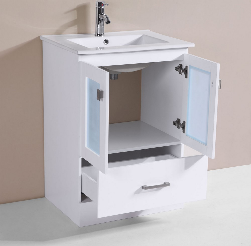 24 hermosa white single modern bathroom vanity with for How much to install a bathroom vanity and sink