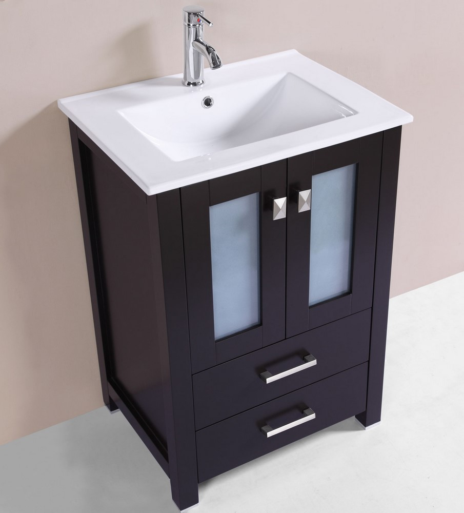 24 newport espresso single modern bathroom vanity with for How much to install a bathroom vanity and sink