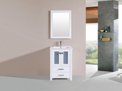 "24"" Newport White Single Modern Bathroom Vanity with Integrated Sink<br>by Pacific Collection"