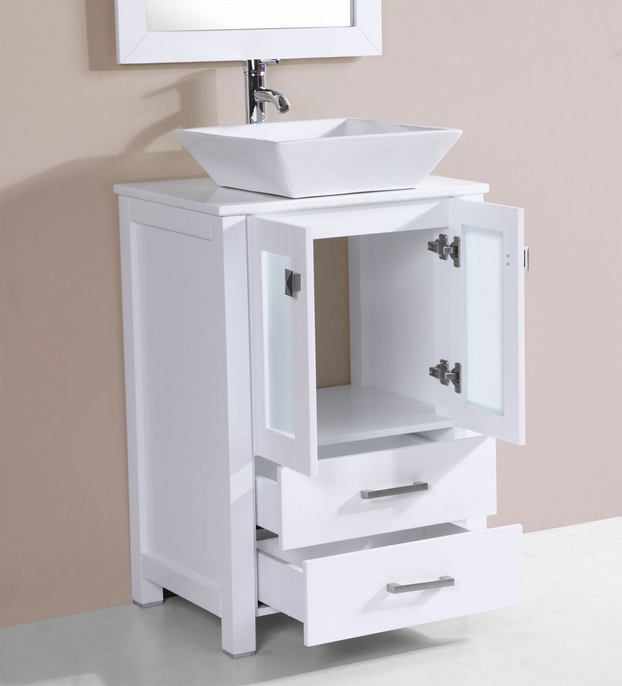 24 newport white single modern bathroom vanity with for How much to install a bathroom vanity and sink
