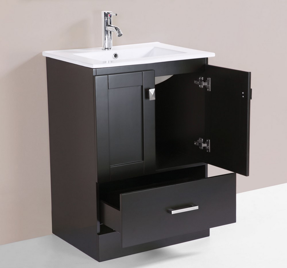 24 redondo espresso single modern bathroom vanity with for How much to install a bathroom vanity and sink