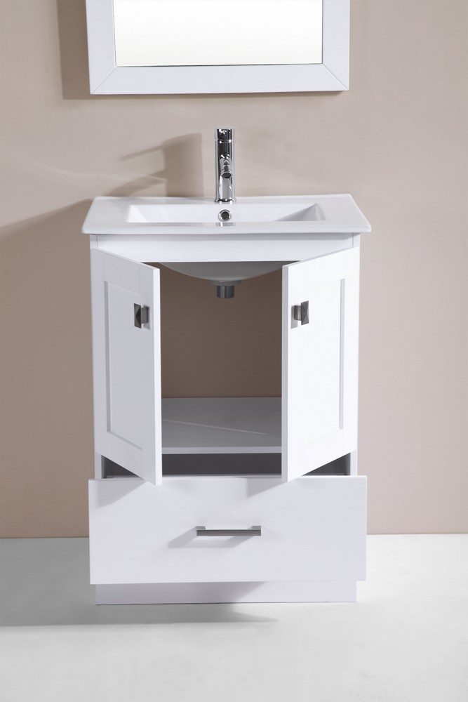 24 redondo white single modern bathroom vanity with for How much to install a bathroom vanity and sink