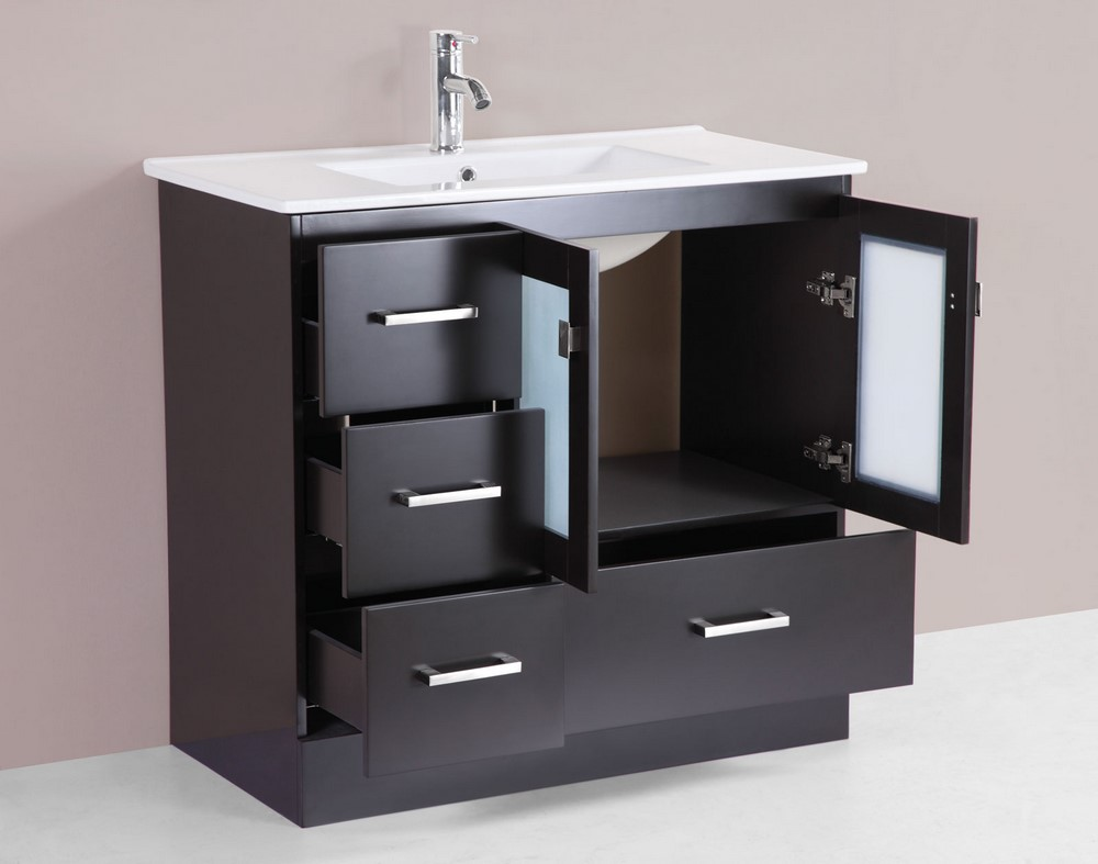 36 hermosa espresso single modern bathroom vanity with for How much to install a bathroom vanity and sink