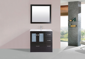 "36"" Hermosa Espresso Single Modern Bathroom Vanity with Integrated Sink<br>by Pacific Collection - Right"