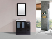"36"" Hermosa Espresso Single Modern Bathroom Vanity with Side Cabinet and Integrated Sink<br>by Pacific Collection"