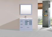 "36"" Hermosa Gray Single Modern Bathroom Vanity with Integrated Sink<br>by Pacific Collection - Left"