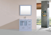 "36"" Hermosa Gray Single Modern Bathroom Vanity with Integrated Sink<br>by Pacific Collection - Right"
