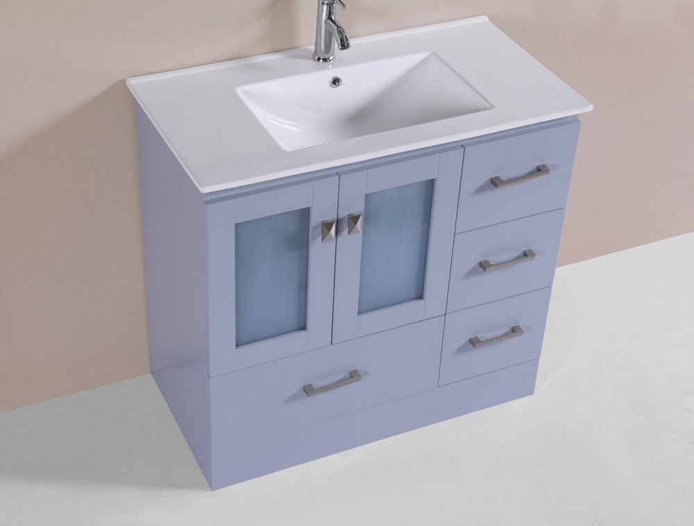36 hermosa gray single modern bathroom vanity with for How much to install a bathroom vanity and sink