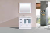 "36"" Hermosa White Single Modern Bathroom Vanity with Integrated Sink<br>by Pacific Collection - Left"