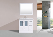 "36"" Hermosa White Single Modern Bathroom Vanity with Integrated Sink<br>by Pacific Collection - Right"