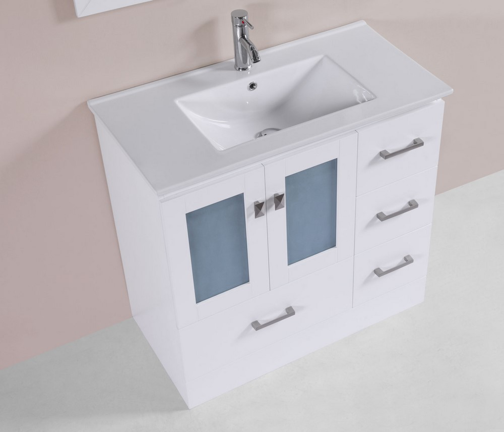 36 hermosa white single modern bathroom vanity with for How much to install a bathroom vanity and sink