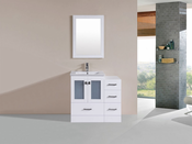 "36"" Hermosa White Single Modern Bathroom Vanity with Side Cabinet and Integrated Sink<br>by Pacific Collection"