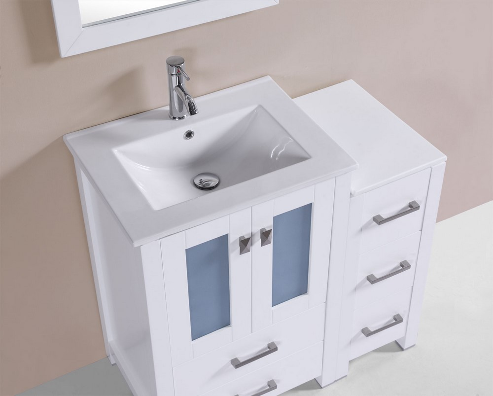 36 Quot Newport White Single Modern Bathroom Vanity With Side