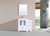"36"" Newport White Single Modern Bathroom Vanity with Side Cabinet and Integrated Sink<br>by Pacific Collection"