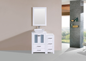 "36"" Newport White Single Modern Bathroom Vanity with Side Cabinet and Vessel Sink<br>by Pacific Collection"