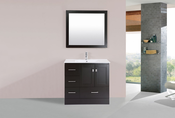 "36"" Redondo Espresso Single Modern Bathroom Vanity with Integrated Sink<br>by Pacific Collection - Left"
