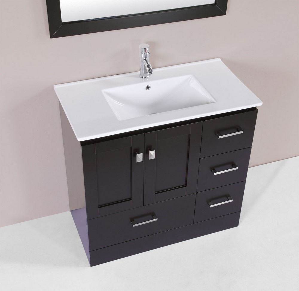 36 redondo espresso single modern bathroom vanity with for How much to install a bathroom vanity and sink