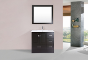 "36"" Redondo Espresso Single Modern Bathroom Vanity with Integrated Sink<br>by Pacific Collection - Right"