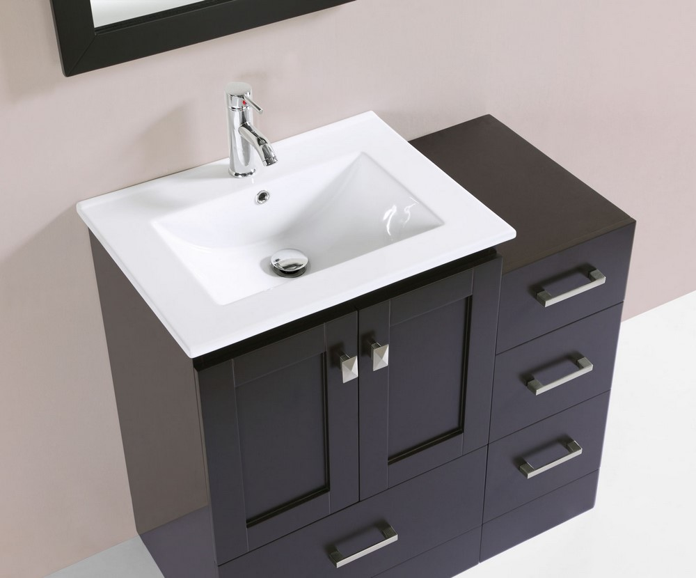 36 redondo espresso single modern bathroom vanity with side cabinet and integrated sinkby for Bathroom vanity with integrated sink