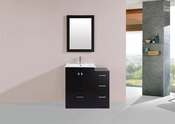 "36"" Redondo Espresso Single Modern Bathroom Vanity with Side Cabinet and Integrated Sink<br>by Pacific Collection"