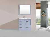 "36"" Redondo Gray Single Modern Bathroom Vanity with Integrated Sink<br>by Pacific Collection - Left"