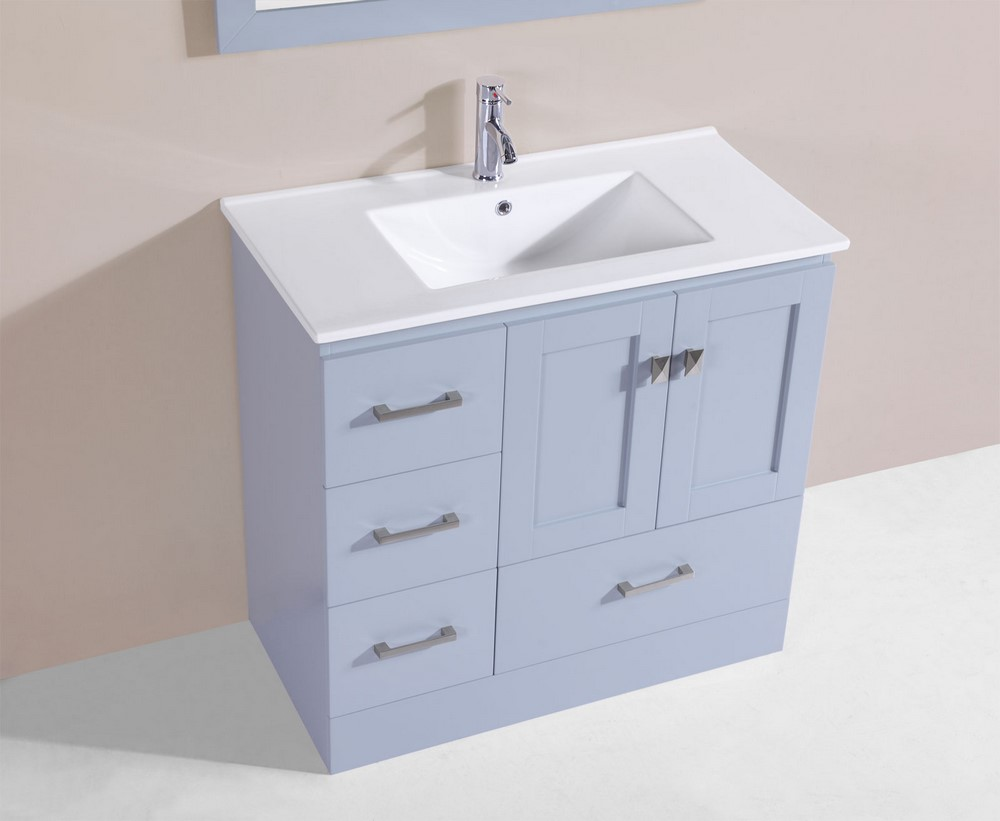 36 redondo gray single modern bathroom vanity with for How much to install a bathroom vanity and sink