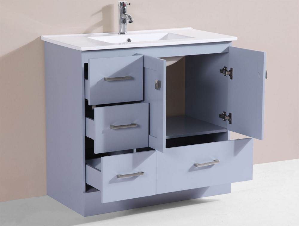 36 redondo gray single modern bathroom vanity with integrated sinkby pacific collection left for Bathroom vanity with integrated sink