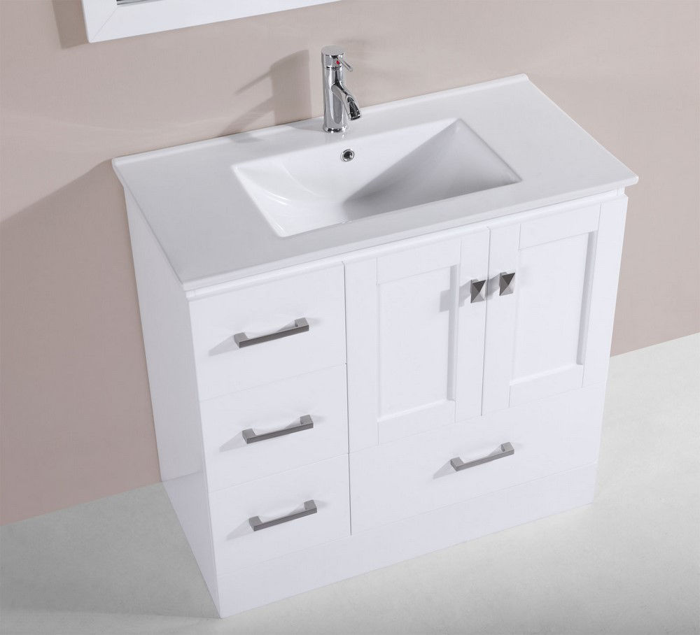 36 redondo white single modern bathroom vanity with for How much to install a bathroom vanity and sink