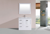 "36"" Redondo White Single Modern Bathroom Vanity with Integrated Sink<br>by Pacific Collection - Left"