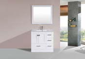 "36"" Redondo White Single Modern Bathroom Vanity with Integrated Sink<br>by Pacific Collection - Right"