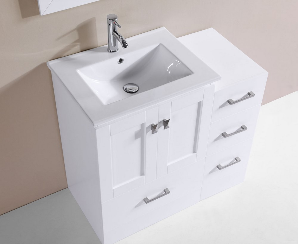 36 redondo white single modern bathroom vanity with side for How much to install a bathroom vanity and sink