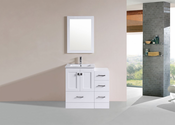 "36"" Redondo White Single Modern Bathroom Vanity with Side Cabinet and Integrated Sink<br>by Pacific Collection"