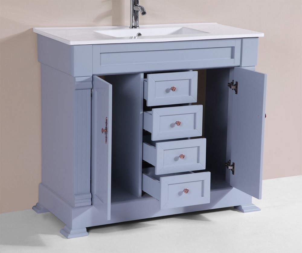 40 Balboa Gray Single Traditional Bathroom Vanity With Integrated Sinkby Pacific Collection