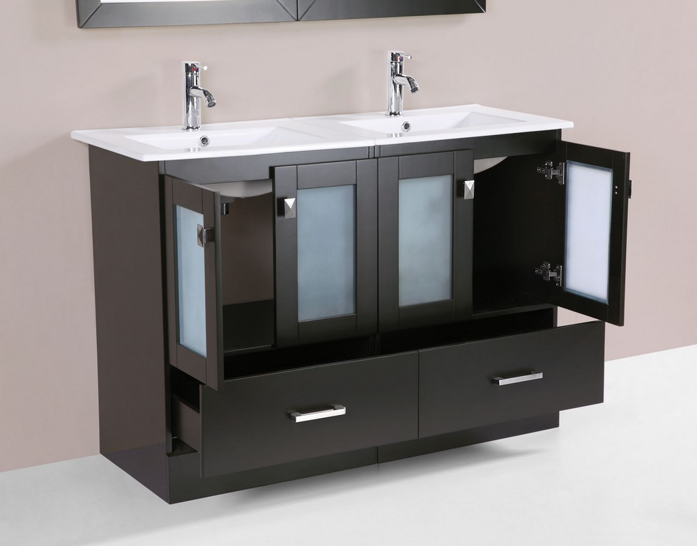 48 hermosa espresso double modern bathroom vanity with for How much to install a bathroom vanity and sink