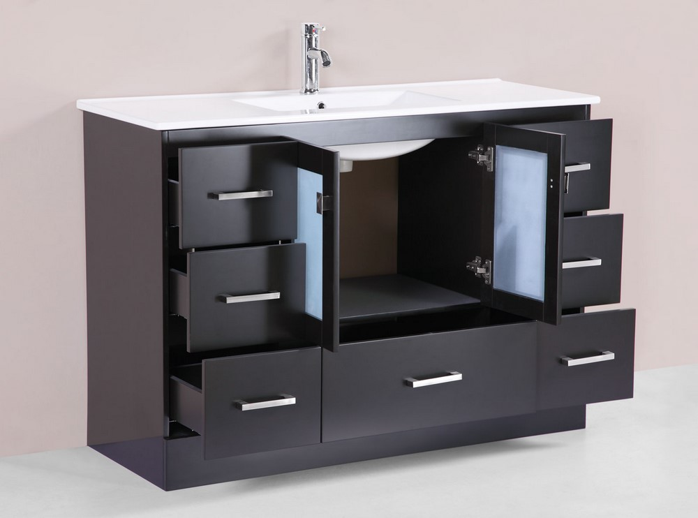 48 hermosa espresso single modern bathroom vanity with for How much to install a bathroom vanity and sink