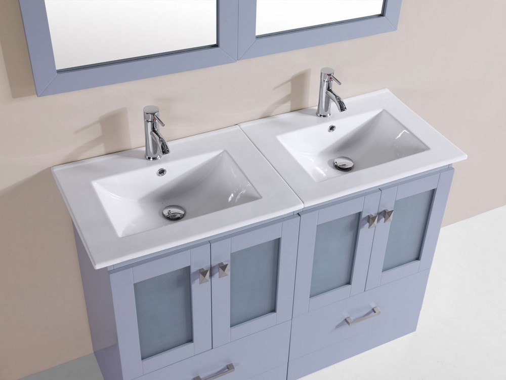 48 hermosa gray double modern bathroom vanity with for How much to install a bathroom vanity and sink