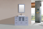 "48"" Hermosa Gray Single Modern Bathroom Vanity with 2 Side Cabinets and Integrated Sink<br>by Pacific Collection"