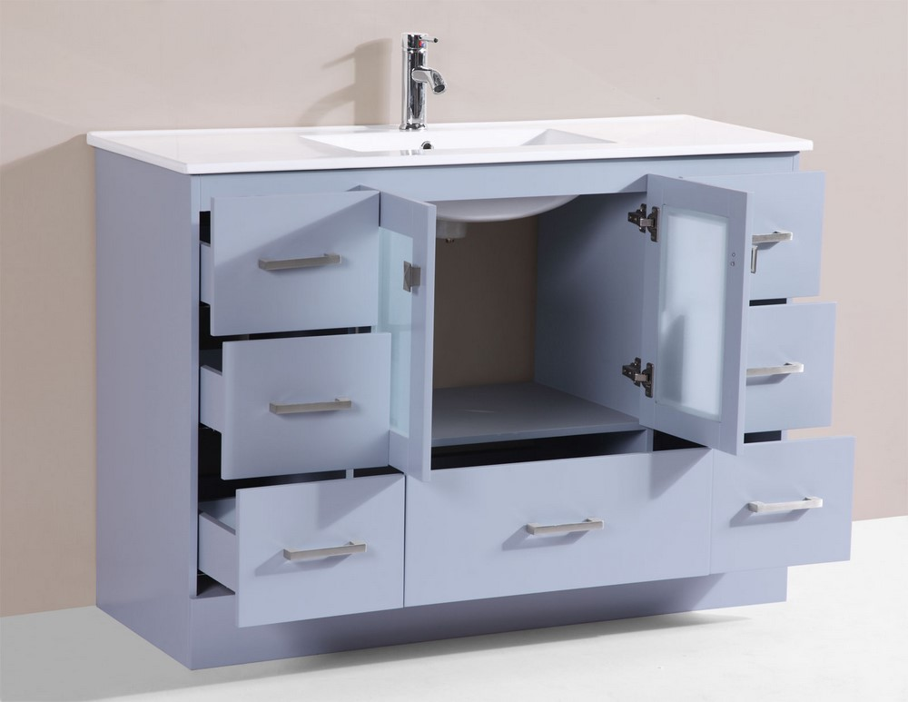 48 hermosa gray single modern bathroom vanity with for How much to install a bathroom vanity and sink