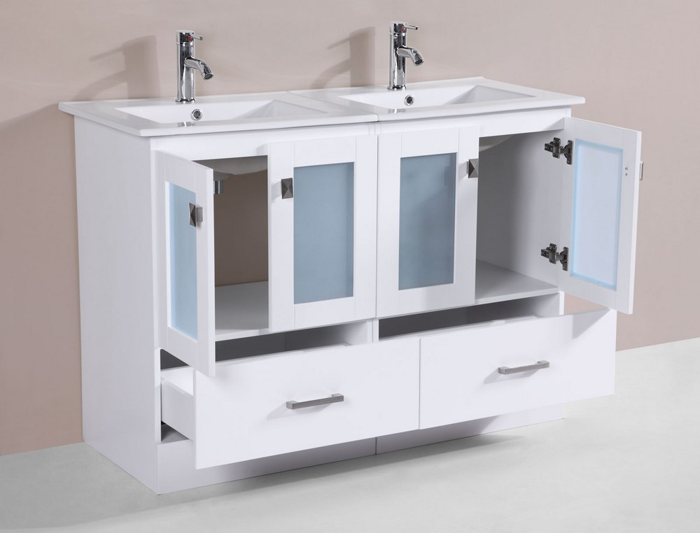 48 hermosa white double modern bathroom vanity with for How much to install a bathroom vanity and sink