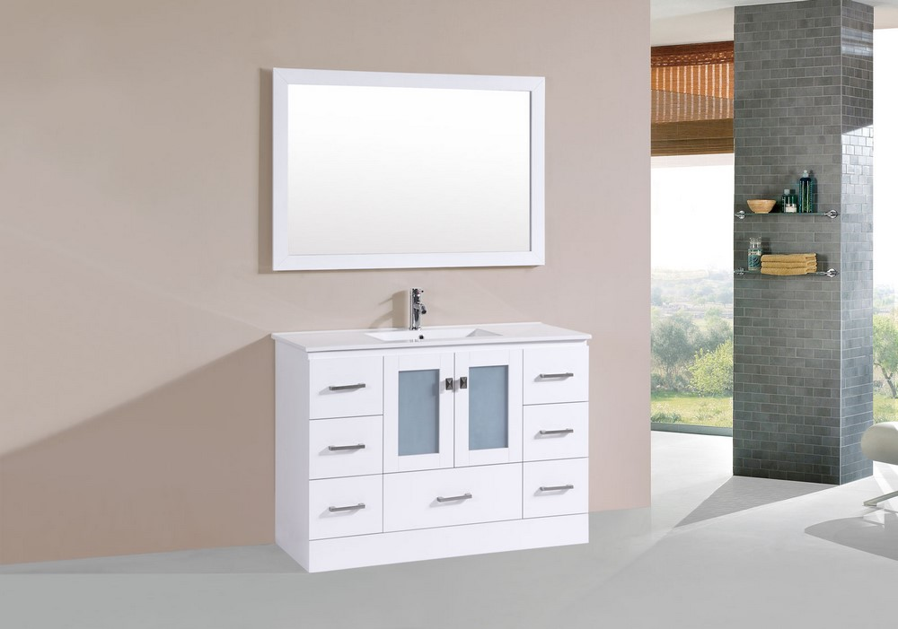 48 hermosa white single modern bathroom vanity with for How much to install a bathroom vanity and sink