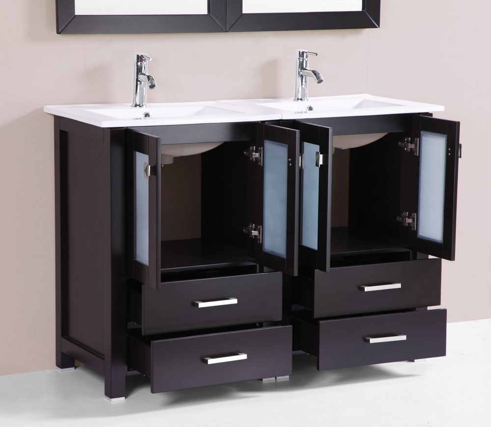 48 newport espresso double modern bathroom vanity with for How much to install a bathroom vanity and sink