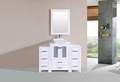 "48"" Newport White Single Modern Bathroom Vanity with 2 Side Cabinets and Vessel Sink<br>by Pacific Collection"