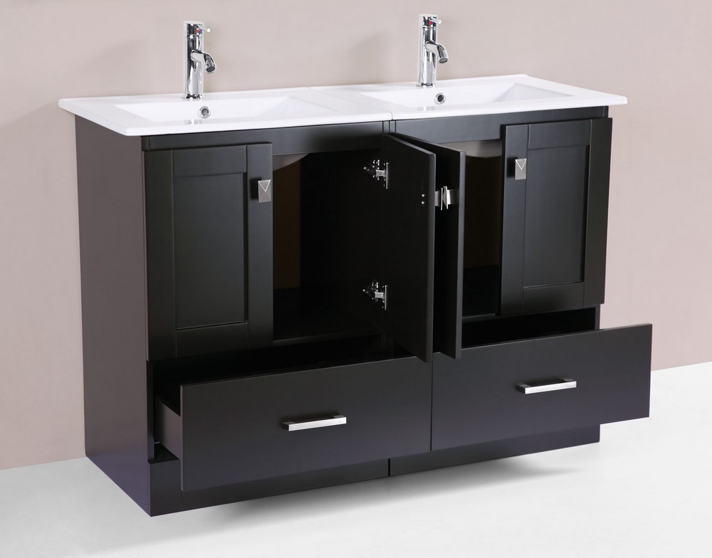48 redondo espresso double modern bathroom vanity with for How much to install a bathroom vanity and sink