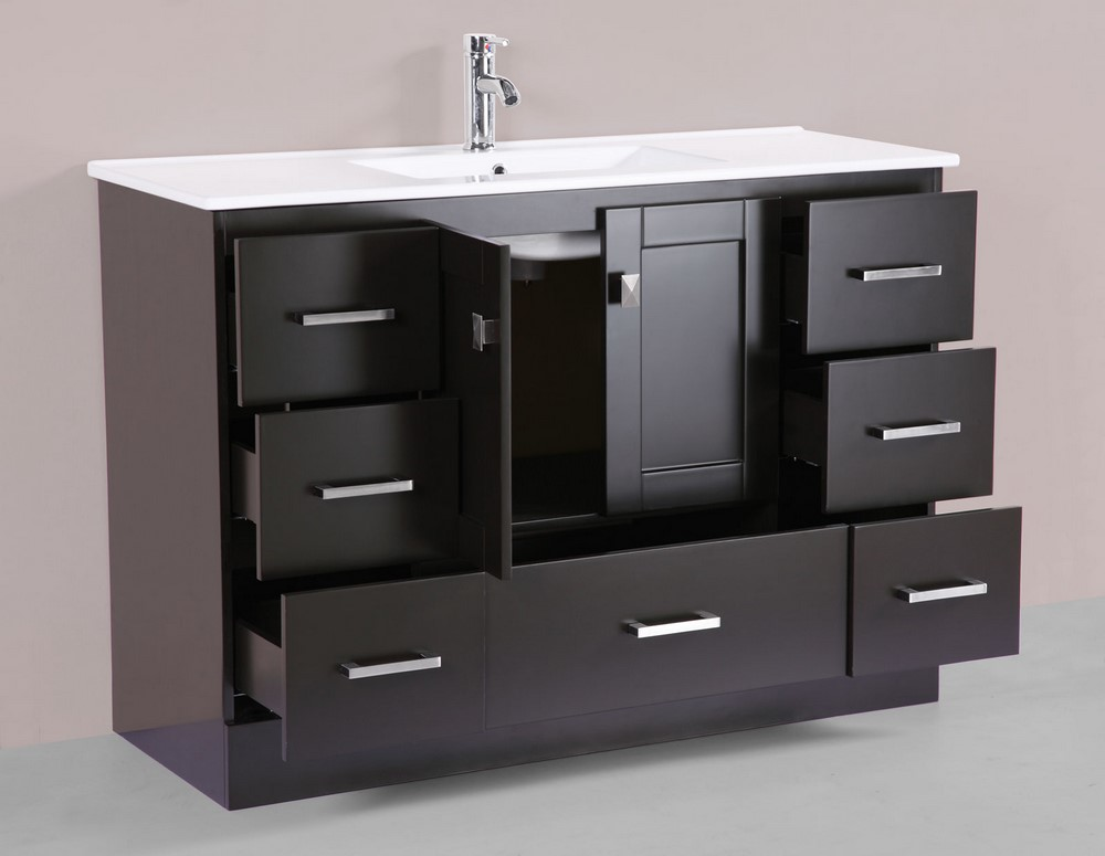48 redondo espresso single modern bathroom vanity with for How much to install a bathroom vanity and sink