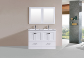 "48"" Redondo White Double Modern Bathroom Vanity with Integrated Sinks<br>by Pacific Collection"