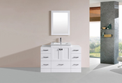 "48"" Redondo White Single Modern Bathroom Vanity with 2 Side Cabinets and Integrated Sink<br>by Pacific Collection"