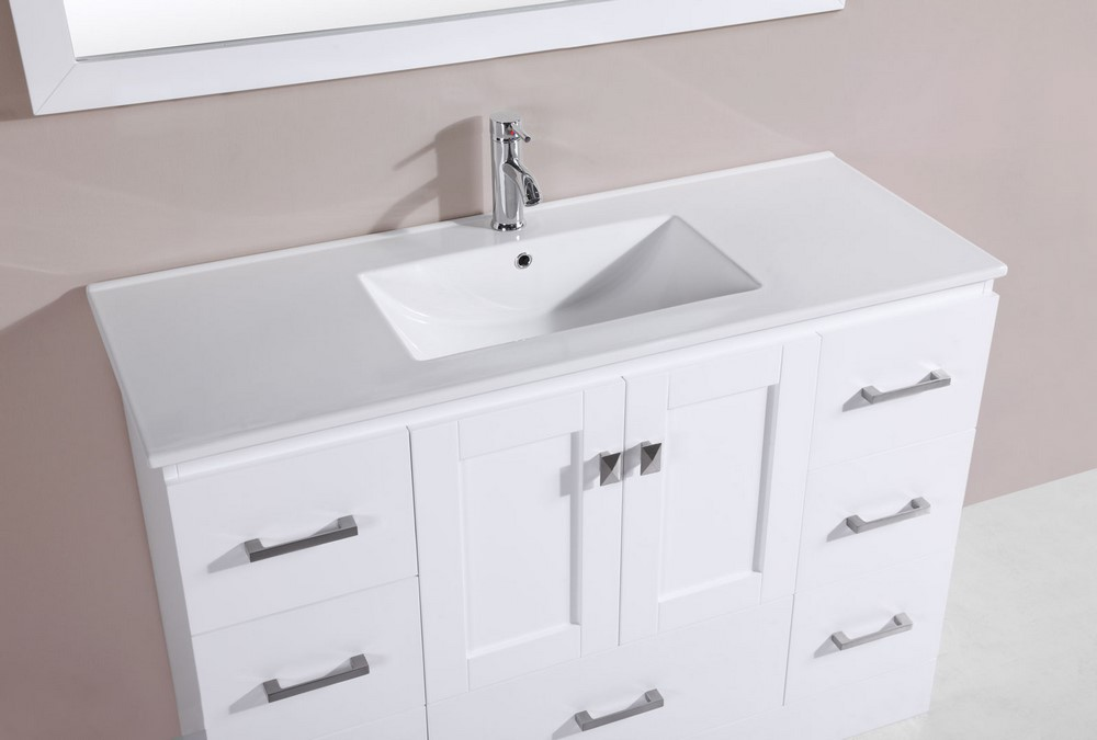 48 redondo white single modern bathroom vanity with for How much to install a bathroom vanity and sink